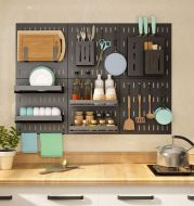 Stainless Steel Kitchen Wall Mounted Kitchen Storage Rack Hole Plate