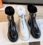 Shiny rabbit fur snow boots