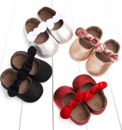 Spring bowknot rubber sole baby toddler shoes