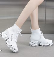 High-top lace-up letter boots