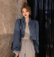 Lapel short cardigan all-match long-sleeved top trend