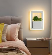 Modern LED Bedside Wall Lamp White Color with Plant LED Wall Lights for Bedroom Living Room Wall Sconce