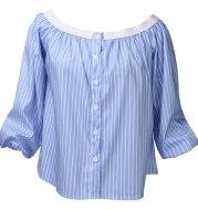 One-shoulder strapless striped shirt