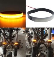 Motorcycle front shock LED ring turn signal