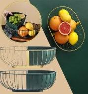 Metal Hollowed Out Fruit Vegetable Snack Tray Bowl Basket Kitchen Storage Rack Holder Large Capacity Kitchen Organizer Basket