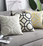Cotton and linen geometric embroidered sofa pillowcase