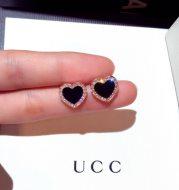 Enamel Heart Stud Rose jewelry Black Earring Wedding Gifts