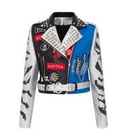 Graffiti Print Coat Short Coat Slim Leather Motorcycle Leather Jacket