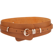 Women's Leather Litchi Pin Buckle Style Wide Belt
