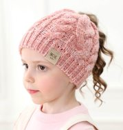 Warm Letter Knit Cute Ponytail Winter Beanie Hat for Girls