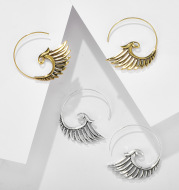 Vintage Peacock Long Ethnic Style Gold And Silver Earrings