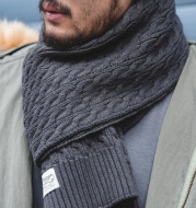 Retro Twist Knitted Wool Scarf With Wool Solid Color Warm Scarf Men Trendy