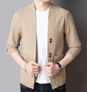 Pure Color Sweater Jacket Men's Autumn Thin Section