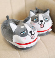 Cartoon Husky Home Thermal Cotton Slippers