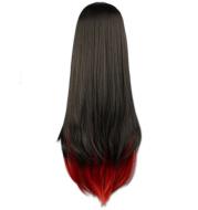European And American Black Gradient Red Long Straight Hair