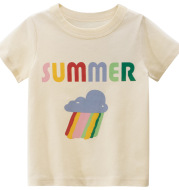 Summer Girls Short-Sleeved Rice Apricot T-Shirt