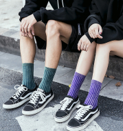 Frosted Washed Double Needle Fashion Trend Ins Wind Wild Men And Women In Tube Cotton Socks