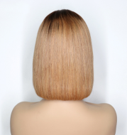 Ombre Colored Short Bob Wig T4B 27 Lace Front Human HairWigs