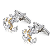 Anchor Cufflinks Exquisite Two-tone French Cuff Studs