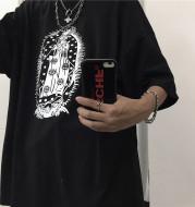 Harajuku Loose Net Red T-shirt With Stars