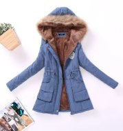 Autumn and Winter Plus Size Hooded Mid-length Cotton Jacket