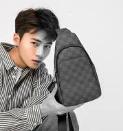 Check Korean Style PU Leather Men's Bag Student Casual Outdoor Messenger Bag