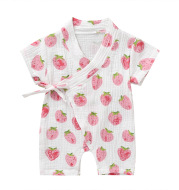 0-18M Summer Baby Girl Boys Clothing Kimonos Rompers Short-sleeved Floral Print Cute Soft Newborn Infant Baby Kimono Playwear