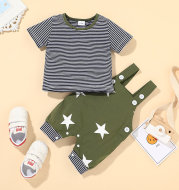 Baby Round Neck Top and Star Overalls Korean Version