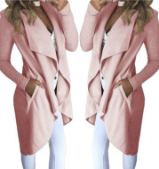 Slim long trench coat with solid lapel