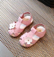 Fashion Solid Color Baotou Children Flower Leather Sandals