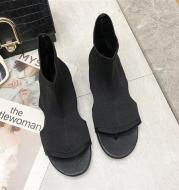 Stretch Cloth Flip Flops High-top Sandals And Long Boots