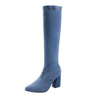 Pointed High Heel Over The Knee Boots Thick Heel