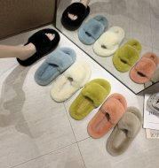 Ladies Fur Slippers Light Board Solid Color Home Shoes Women Shoes
