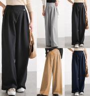 Ladies Fashion Irregular Belt Wide Leg Pants