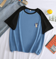 Fashion Plus Size Top Contrast Color Stitching Short Sleeve T-Shirt