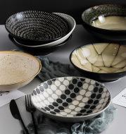 Creative Ceramic Dish Dish Home Deep Dish Straw Hat Bowl Hotel Tableware