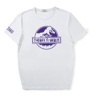 Jurassic Purple Dinosaur Print Plus Size Loose T-Shirt