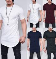 Fashion Simple Men's T-Shirt Solid Color Round Neck Top