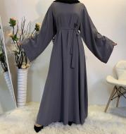 Solid Color Plus Size Lace-up Muslim Dress