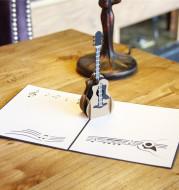Birthday 3D Greeting Card Guitar Creative Handmade Gift Paper Carving
