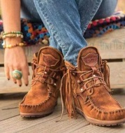 Winter Thick-Soled Fringed Lace-Up Women's Short Boots