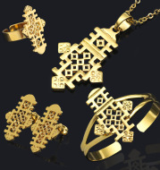 Ethiopian Jewelry Set Necklace Bracelet Ring Earring Four Piece Set