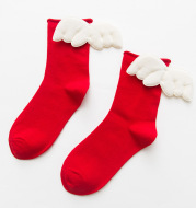 Women's Socks Solid Color Curled Heel 3D Big Wings