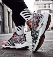 Men's High Top Shoes Male Fashionable Shoes Graffiti Basketball Shoes