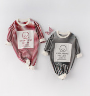 Spring Baby Romper With Smiley Face Long Sleeve Ha Long Romper