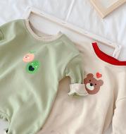 Baby Jumpsuit Korean Style Fresh Avocado Bear Turtleneck Long Sleeve Romper Romper