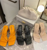 Square-toe Open-toe Slippers With Thin Straps And Thick High-heel Fashion One-word Sandals