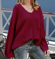 Casual Pocket Knitted Women Pullover Sweater