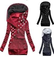 Ladies Sweatshirt Zipper Colorblock Print Hooded Long Sleeve Jacket