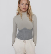 Winter Patchwork Turtleneck Knit Sweater 2021 Long Sleeve Pronounced Seam Slim Pullover Female Chic Knitted Top